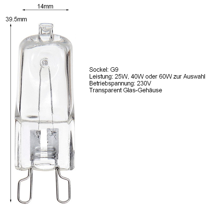 20x g9 hochvolt 25w 40w 60w halogen halopin stiftsockel lampe leuchtmittel 230v ebay. Black Bedroom Furniture Sets. Home Design Ideas